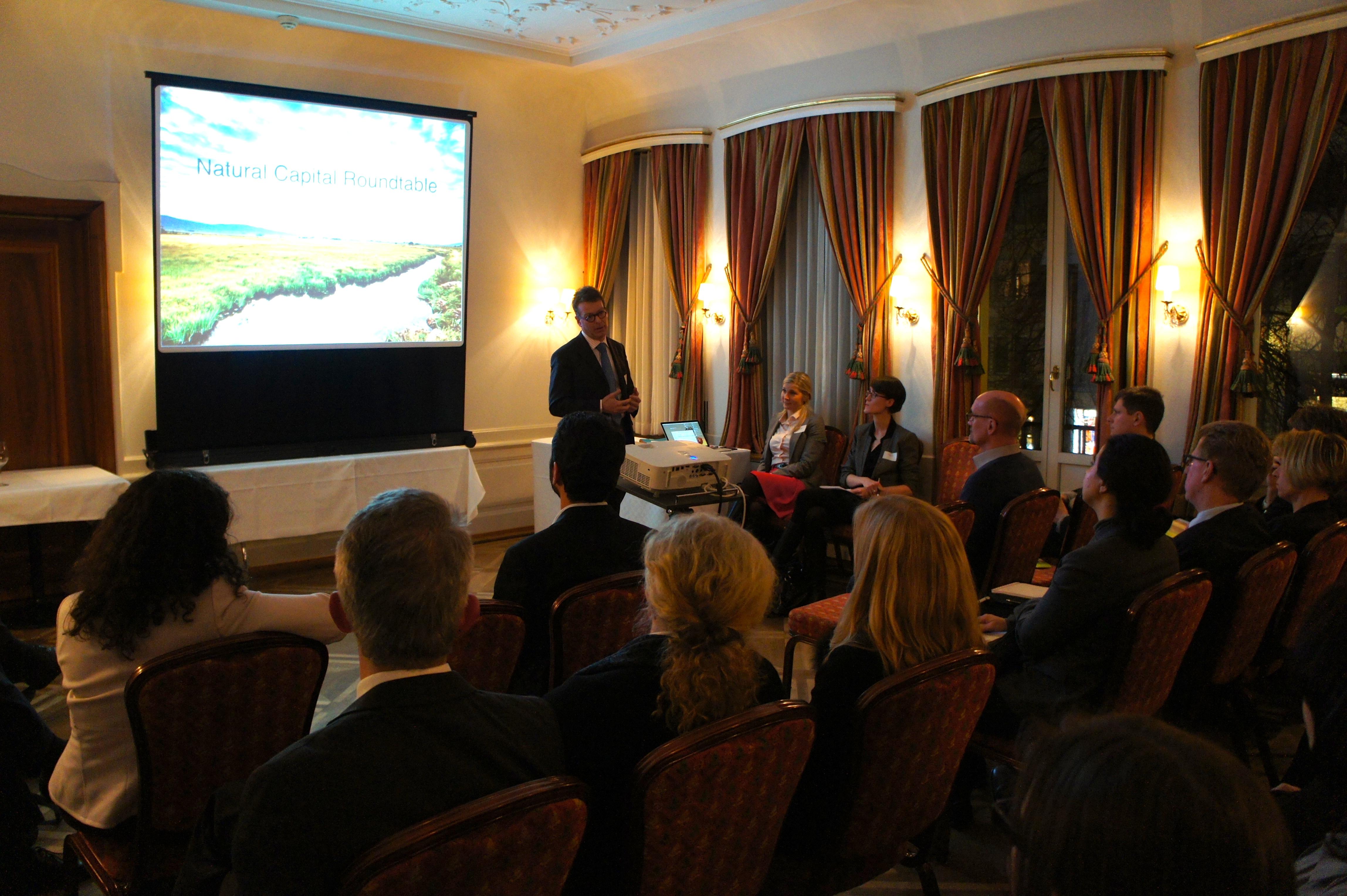 David Bresch giving an overview of Swiss Re's approach to Natural Capital